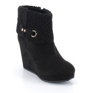 Juicy Couture black suede ankle boot wedges